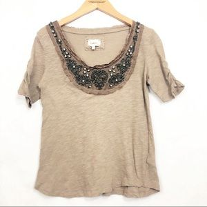 Anthro Deletta Bohemian Embellished Shirt Rustic